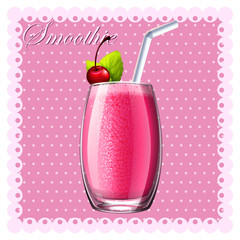 Pink smoothie in glass
