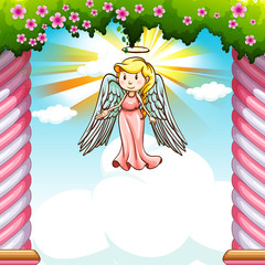 Border design with angel flying