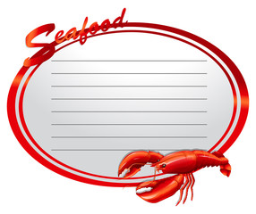 Seafood banner with lobster and text