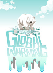 Global warming sign with polar bear