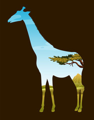 Wildlife design with giraffe and field