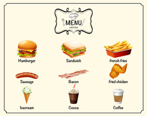 Different kind of fastfood on menu