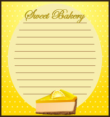 Line paper with lemon cheesecake