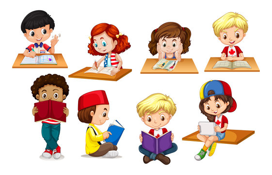 Children reading and writing