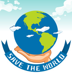 Save the world sign with earth on hand