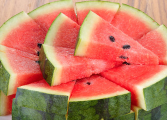 water melon sliced  on wooden  background