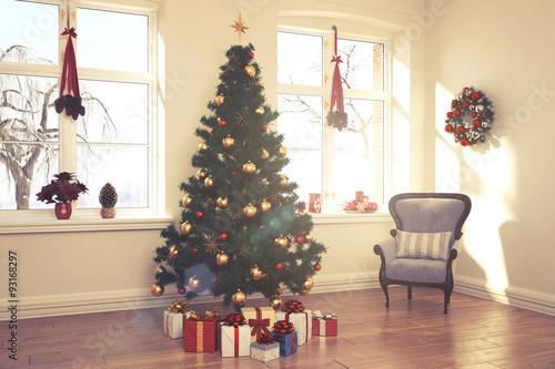 Weihnachtlich dekoriertes wohnzimmer im retro look stockfotos und lizenzfreie bilder auf - Wohnzimmer im retro look ...