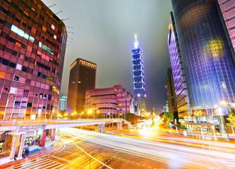 Night scene of Taipei City, Taiwan.