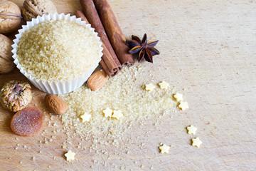 Christmas cupcake with brown sugar baking abstract