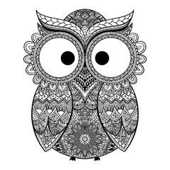 Vector illustration of ornamental owl.