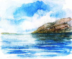 sea . watercolors painting