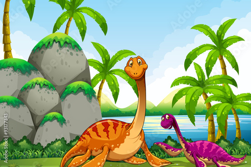 Dinosaur living in the jungle
