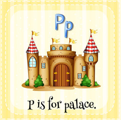 Flashcard alphabet P is for palace