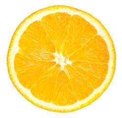 Slice of orange fruit on white background