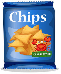 Bag of corn chips crab flavor