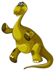 Green brachiosaurus standing on two legs