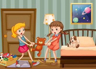 Two girls pulling teddy bear in bedroom