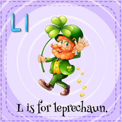 Flashcard letter L is for leprechaun