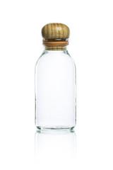 empty glass bottle and wood bottle cork