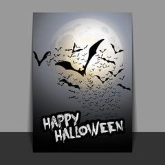 Happy Halloween Card, Flyer or Cover Template - Flying Bats - Vector Illustration