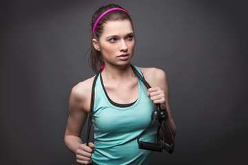 Sporty Woman with Stretch Band