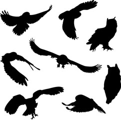 silhouettes of birds. owl, eagle owl