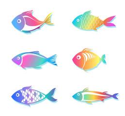 rainbow fish silhouettes