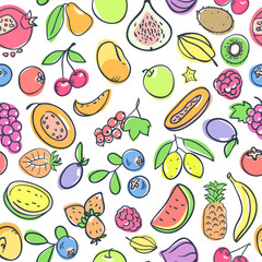 Seamless pattern with fruits. Pastel soft colors. Cartoon pictures of fruit.