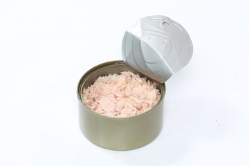 open tuna tin on a white background