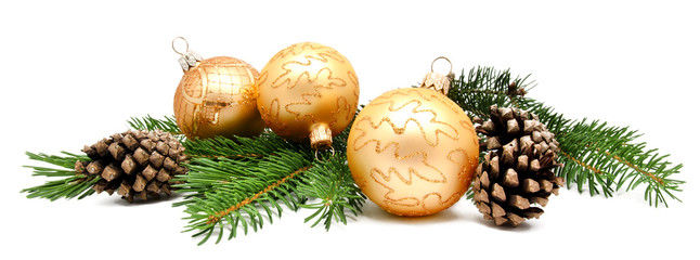 Christmas decoration balls with fir cones Fotobehang