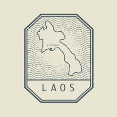 Stamp with the name and map of Laos