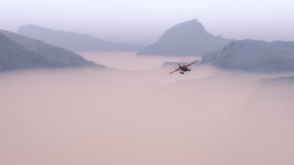 Small red airplane flying over misty snow mountain landscape.