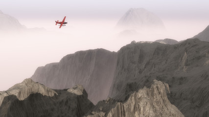 Small red airplane over misty mountains.
