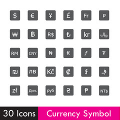 Set of Currency and business icon isolated on white background v
