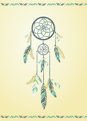 Dream catcher. Abstract picture of the dream catcher. Ethnic accessory. Can be used as a postcard, illustration.