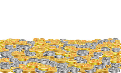 Large sum of gold and silver coins vector image
