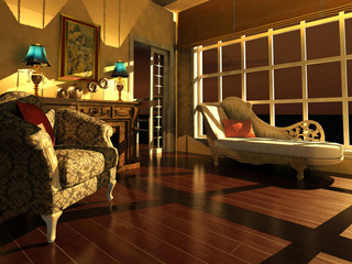 Classic living room interior in dusk light