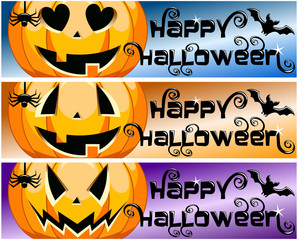 Collection Happy Halloween horizontal banners