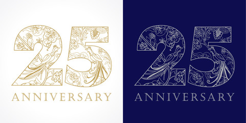 Fototapeta 25 anniversary vintage logo. Template numbers of 25th jubilee in ethnic patterns and birds of paradise. obraz