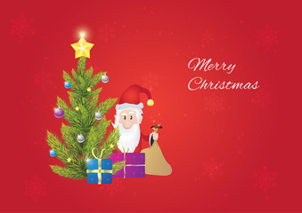 Christmas tree with santa claus, when he is giving gifts to you. Christmas postcard. Red background.