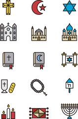 Set of Christian, Jewish & Muslim religion outline icons