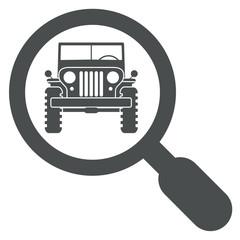 Icono aislado lupa jeep frontal gris