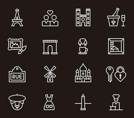 set of PARIS outline icons