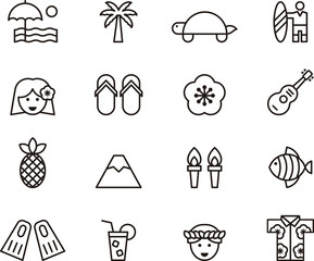HAWAII outline icons