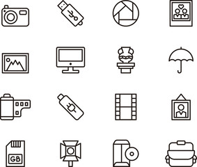 PHOTOGRAPHY set of outline icons
