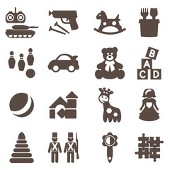 Toys icons. Vector signs. Set toy store.