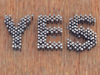 Word made with nails