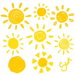 Set of hand drawn suns isolated. Vector illustration