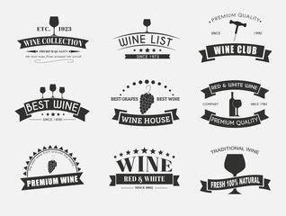 Set of wine logos with ribbons