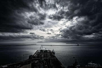 dramatic sky above the harbor